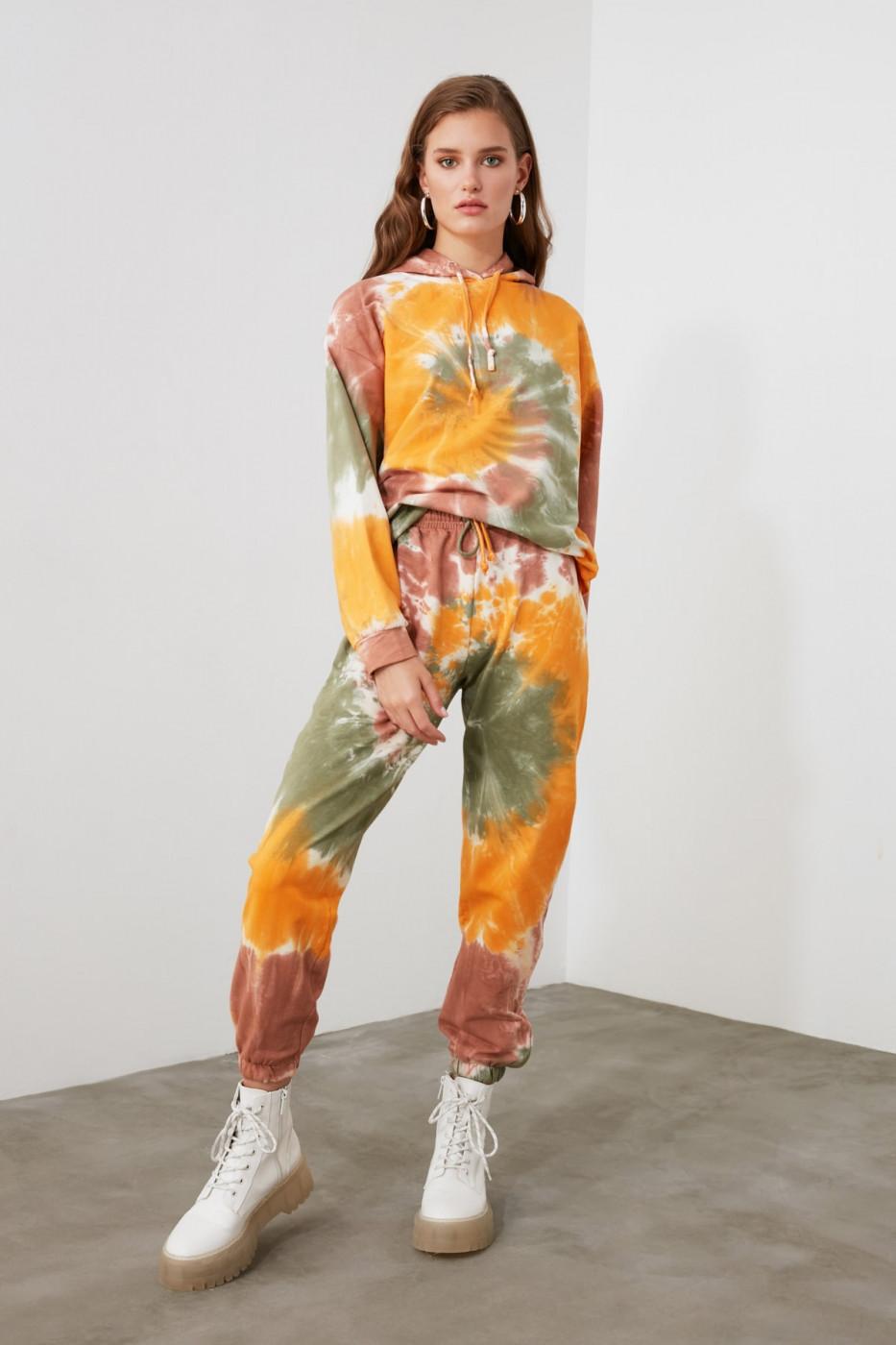 Trendyol Orange Batik Basic Jogger Knitted Tracksuit bottom