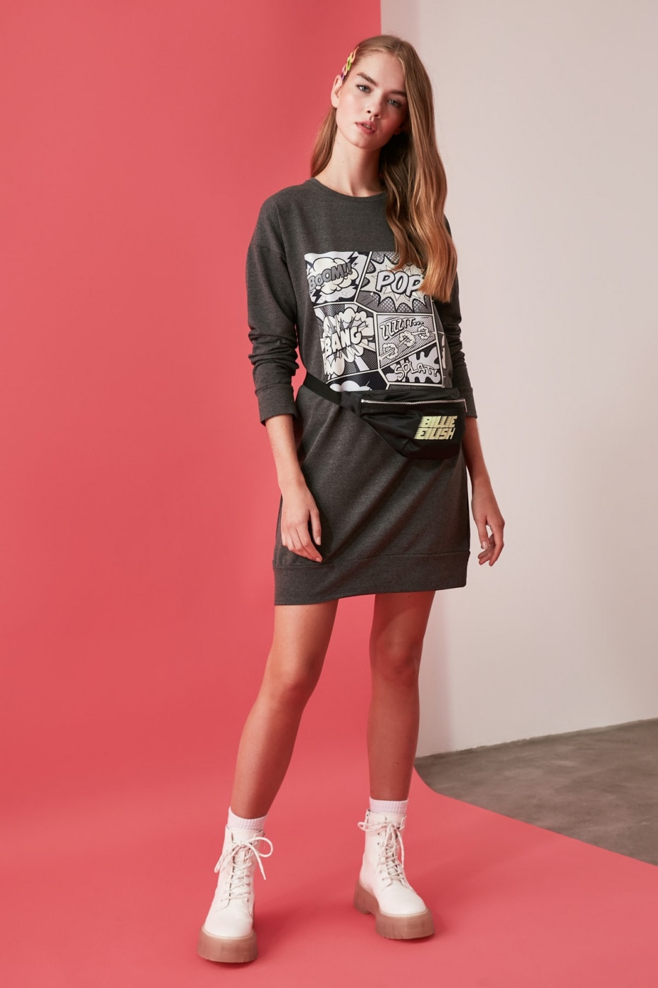 Trendyol Anthracite Printed Knitted Sweat Dress