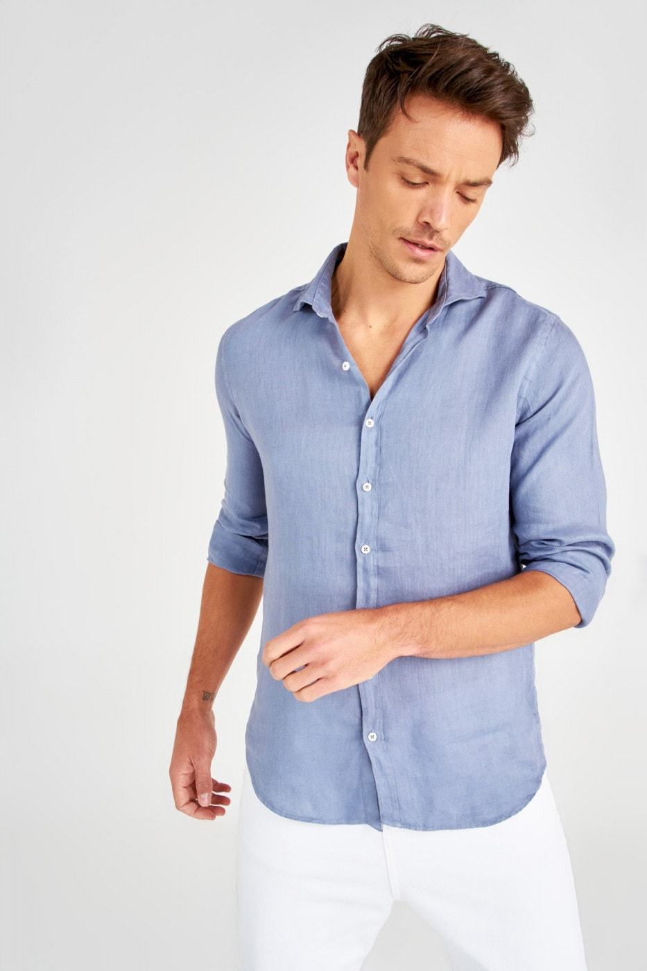Trendyol Blue Men Linen Shirt