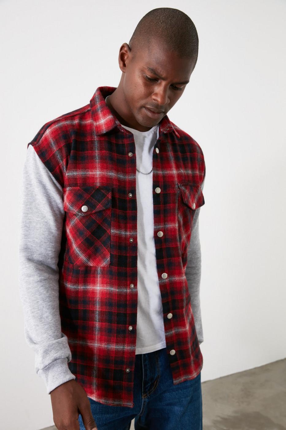 Trendyol Red Men Knitted Sleeve Double Pocket Jacket Shirt