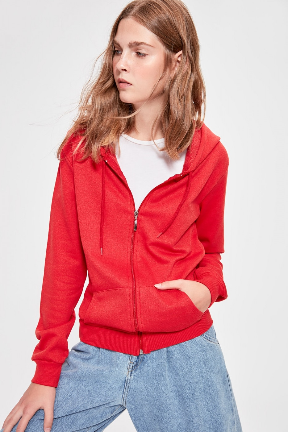Trendyol Basic Knitted Sweatshirt with Red Zipper Hoodie