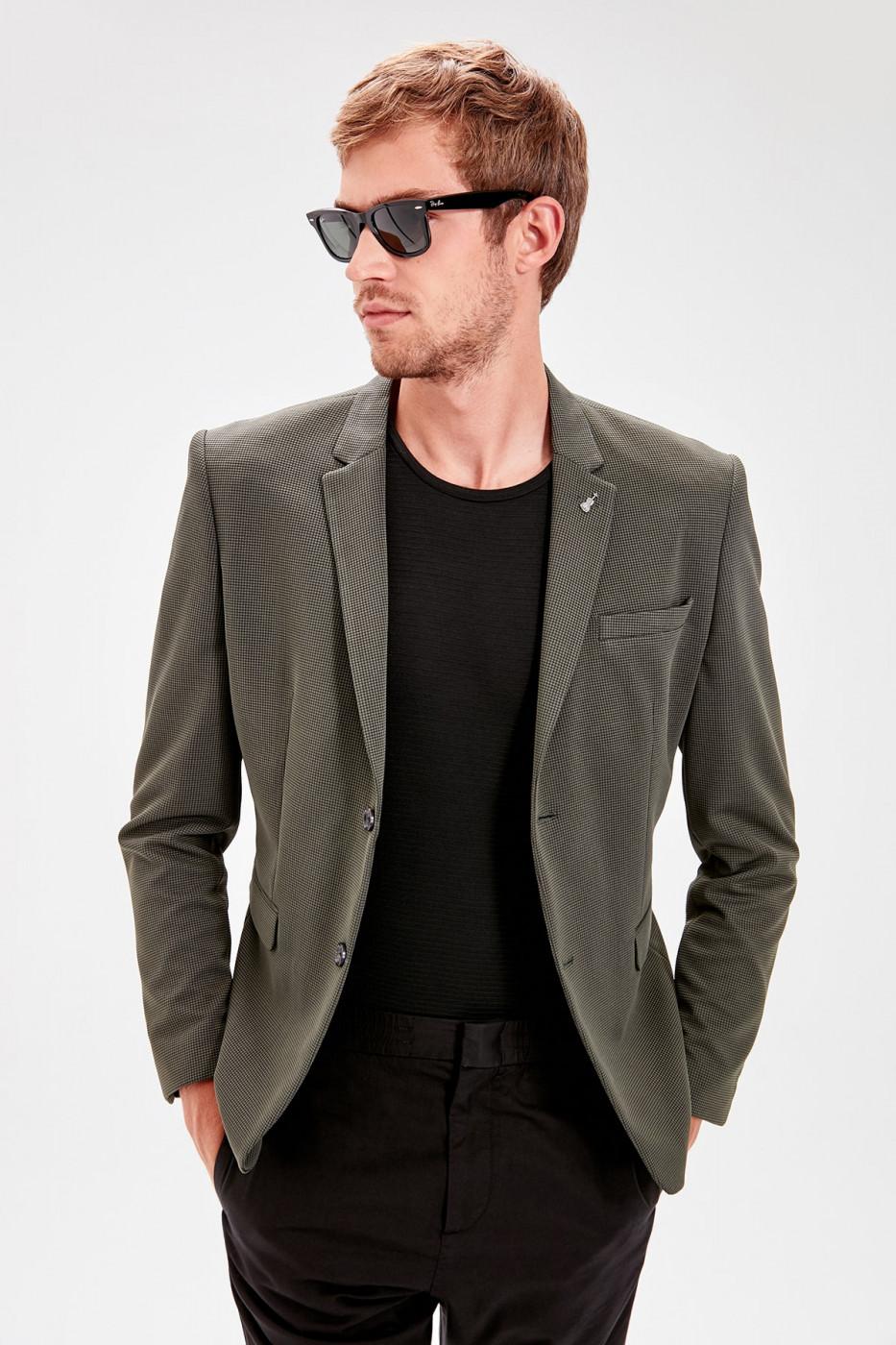 Trendyol Khaki Men's Slim Fit Single-Buttoned Jacket