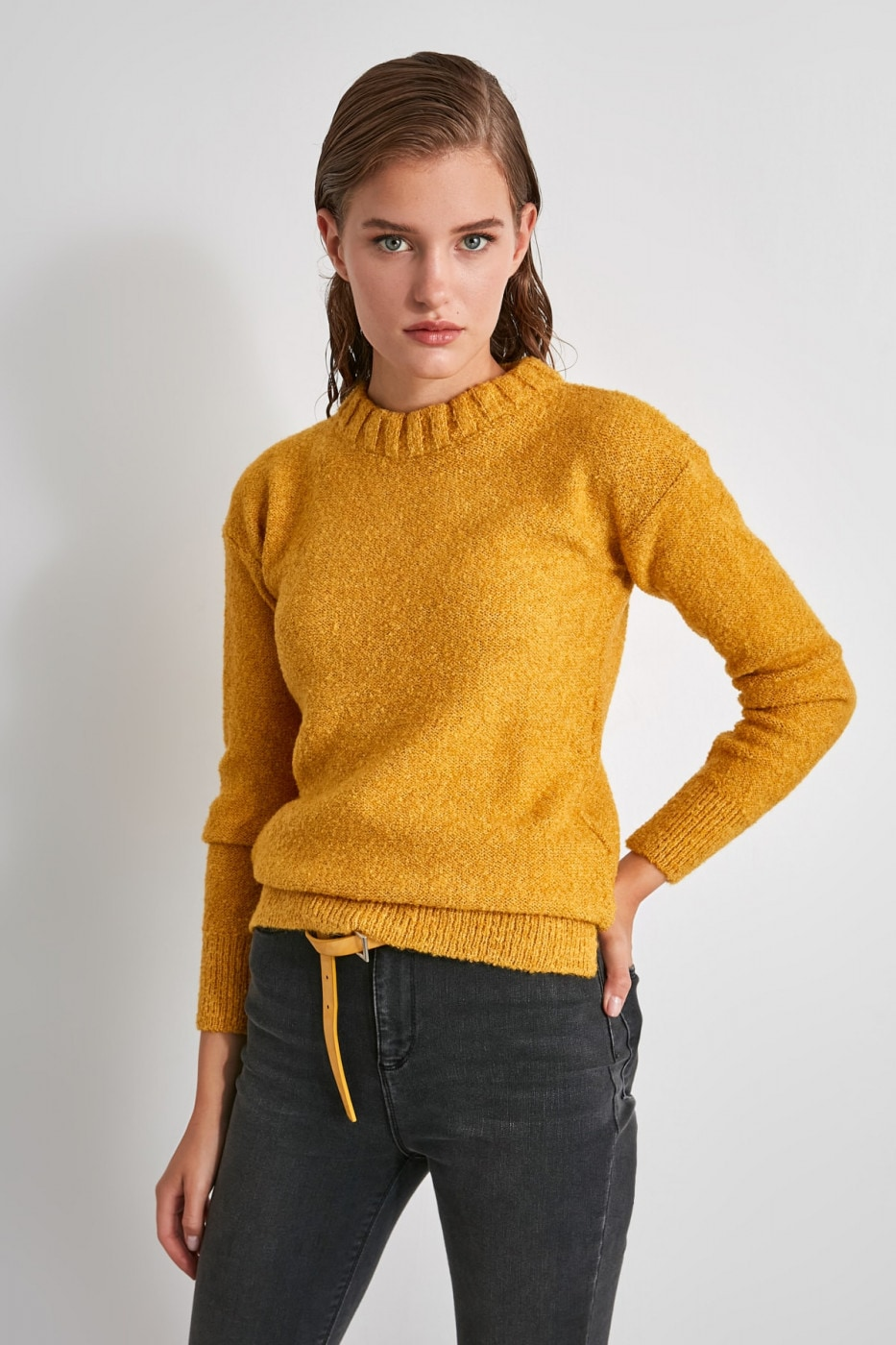 Trendyol Yellow Bicycle Collar Knit Sweater