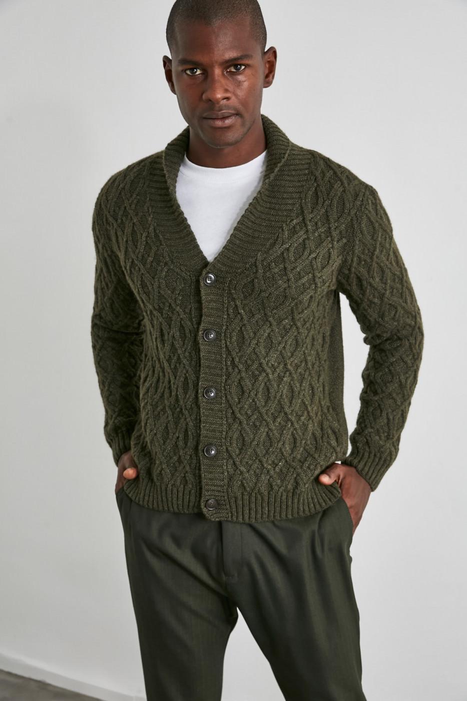 Trendyol Khaki Male Shawl Collar Hair Braid Cardigan