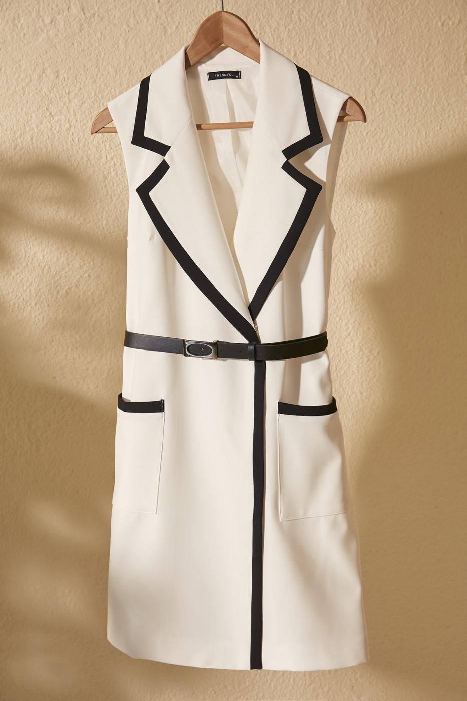 Trendyol Ekru Belted Jacket Dress