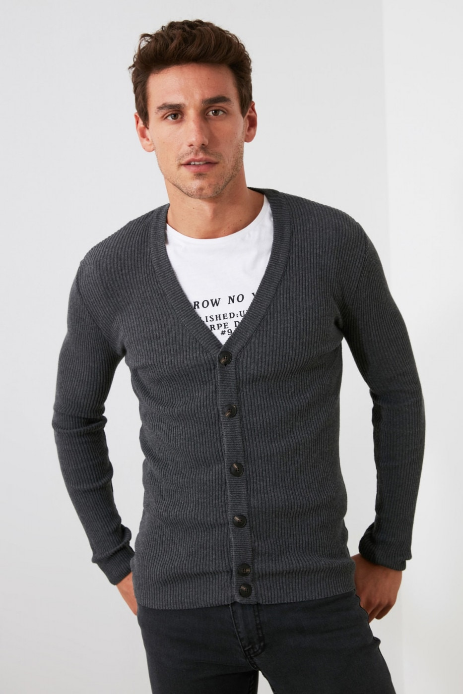 Trendyol Grey Men's V Button Rubber Mesh Cardigan