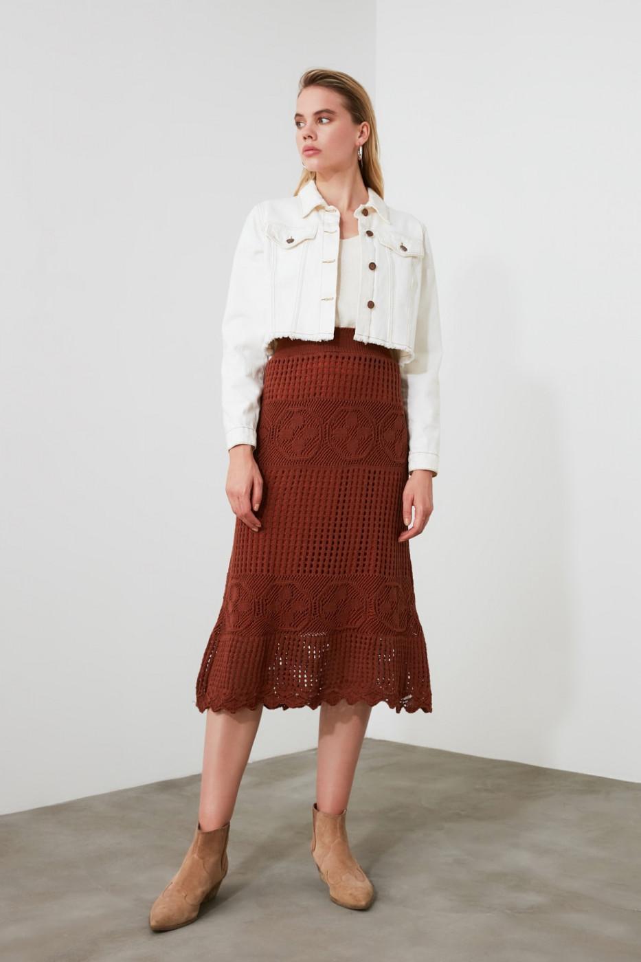 Trendyol Brown Mesh Detailed Knitwear Skirt