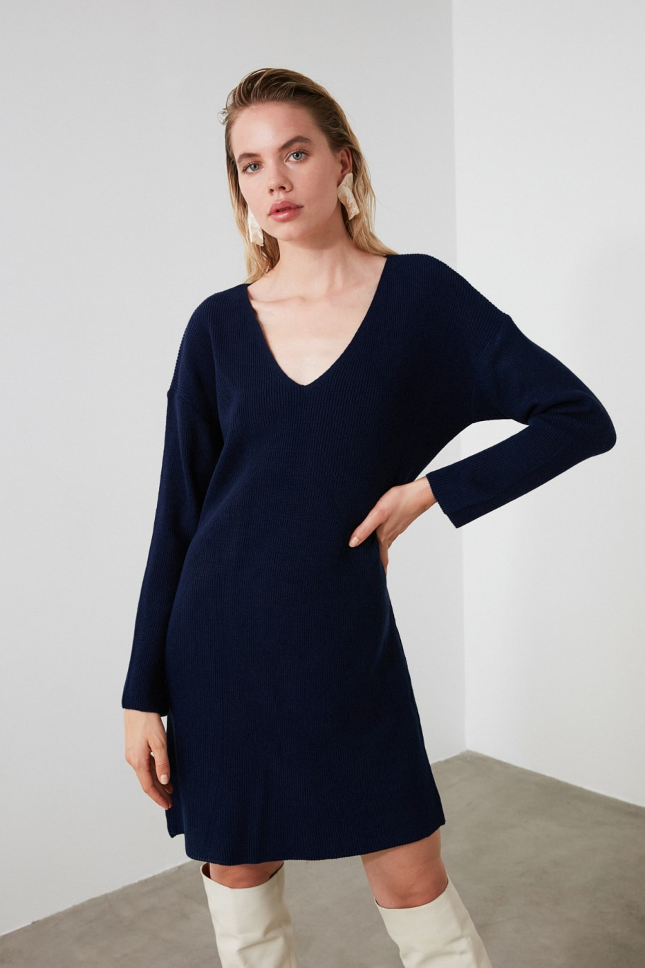 Trendyol Navy V Collar KnitWear Dress