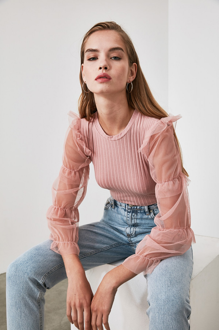 Trendyol PowderEd Tulle Detailed Knitted Blouse