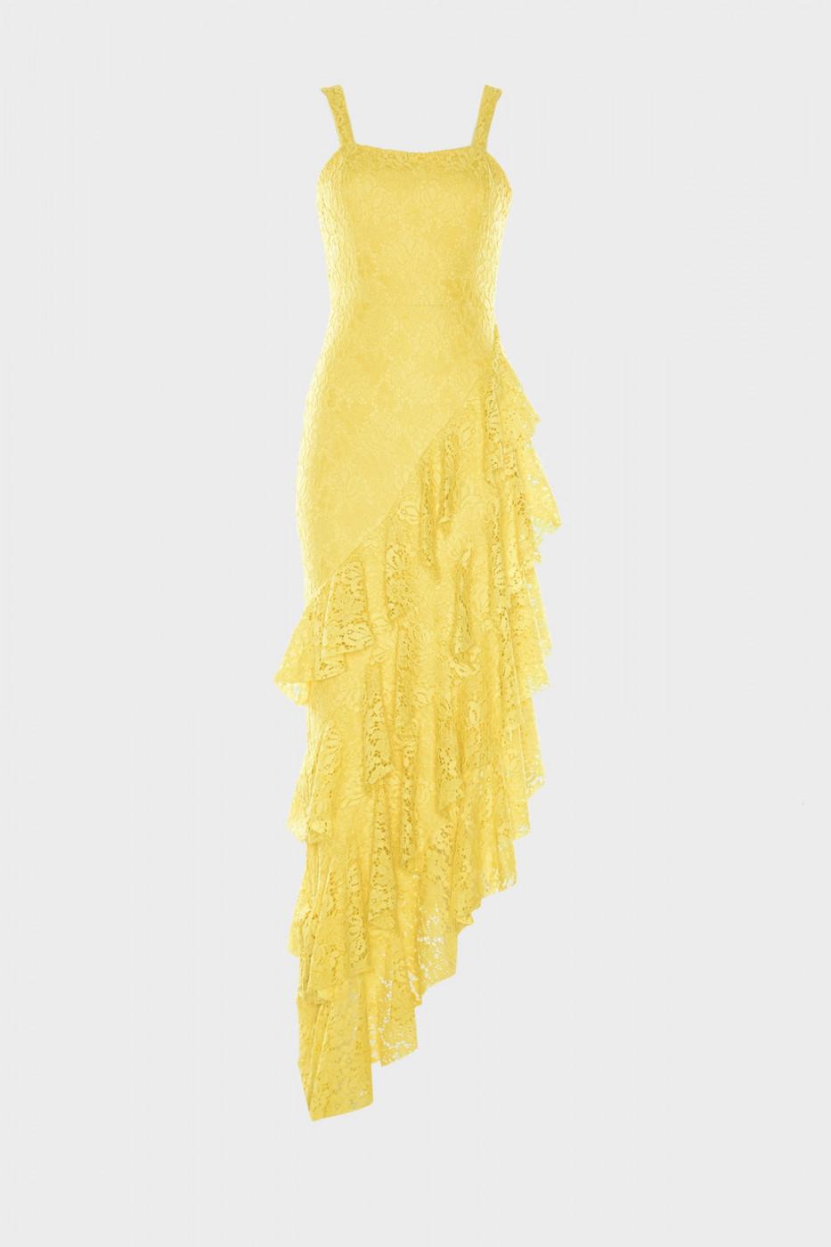 Trendyol Yellow Volli Dantel Evening Dress & Graduation Dress