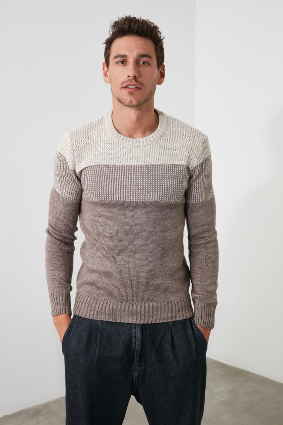 Trendyol Beige Male Sweater