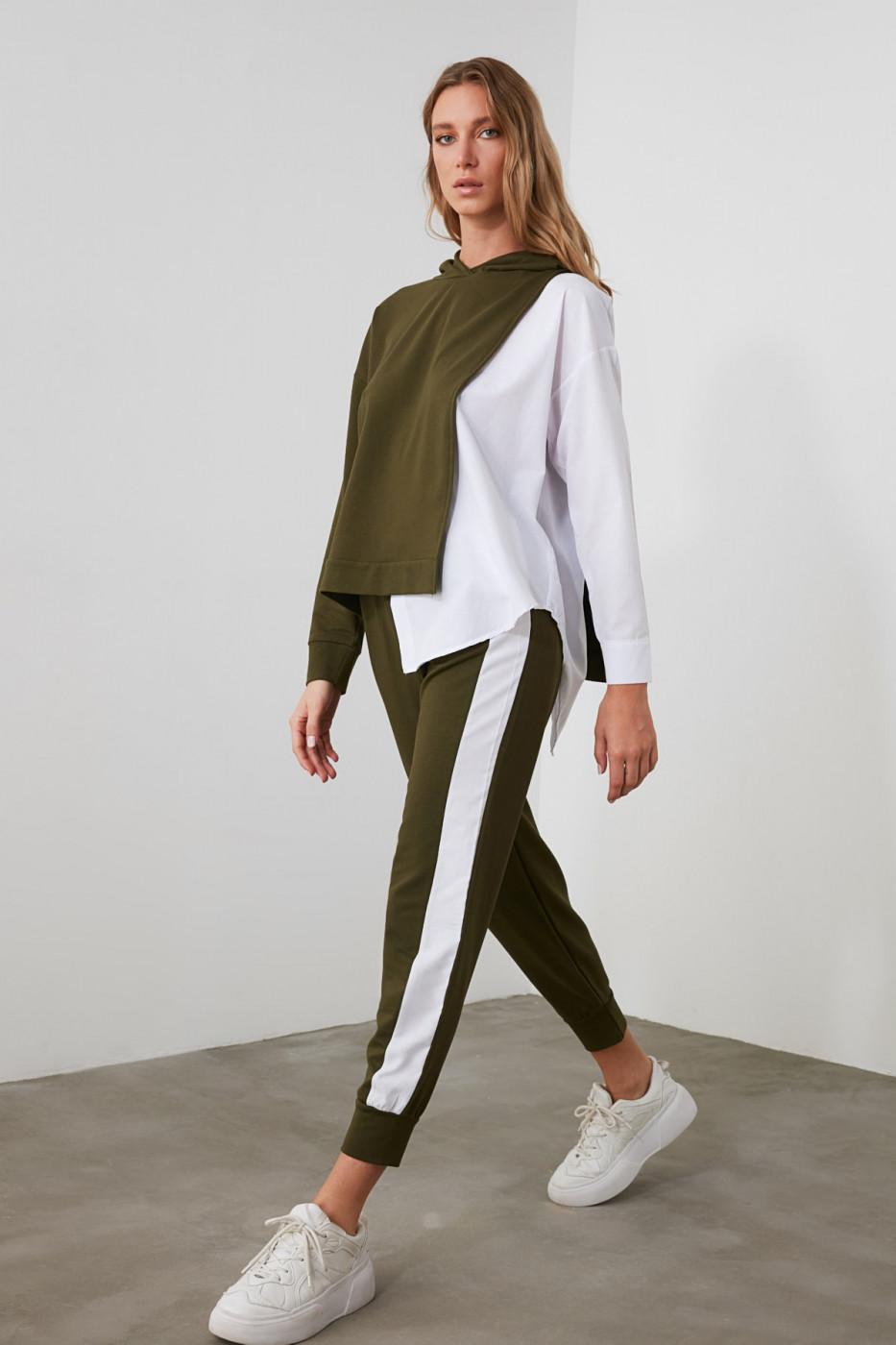 Trendyol Khali Poplin Striped Basic Jogger Knitted Tracksuit bottom