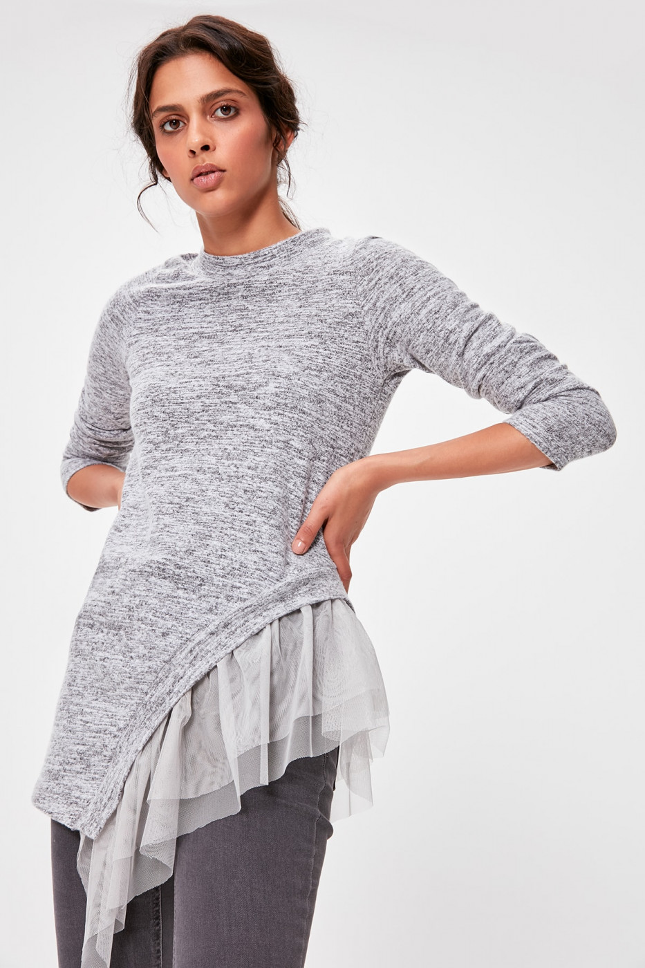 Trendyol Grey Tulle Detailed Knitted Blouse