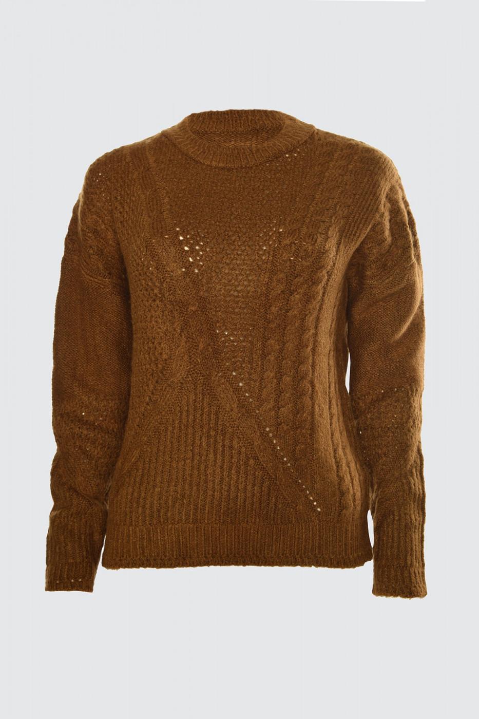 Trendyol Brown Mesh Detailed Knitwear Sweater