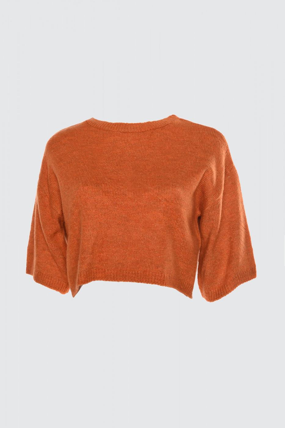 Trendyol Cinnamon Crop Knit Sweater