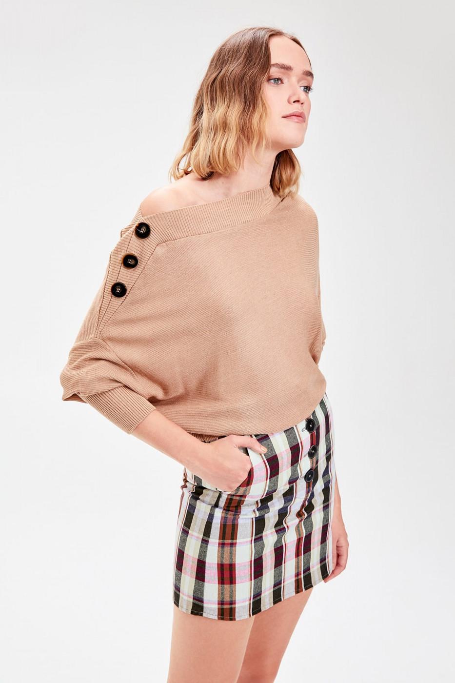Trendyol Camel Shoulder Button Knitwear Sweater