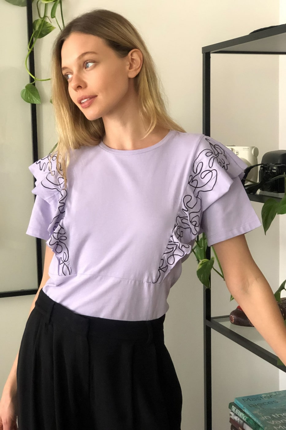 Trendyol Lila Embroidered Knitted Blouse