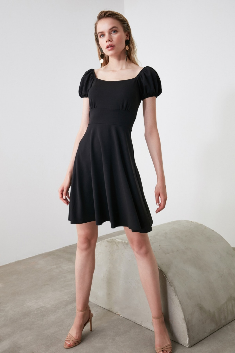 Trendyol Black Volli Shoulder Detailed Dress