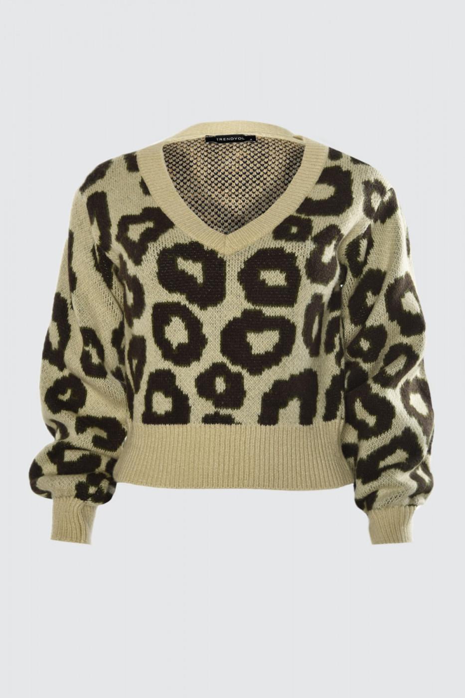 Trendyol Beige Leopard Print Knit Sweater