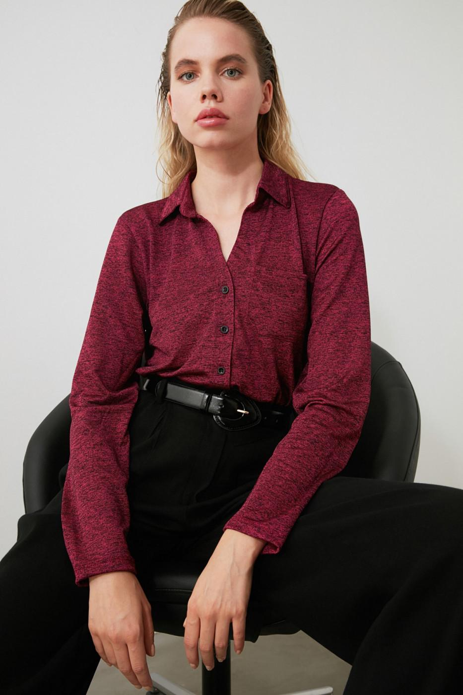 Trendyol Burgundy Basic Knitted Shirt