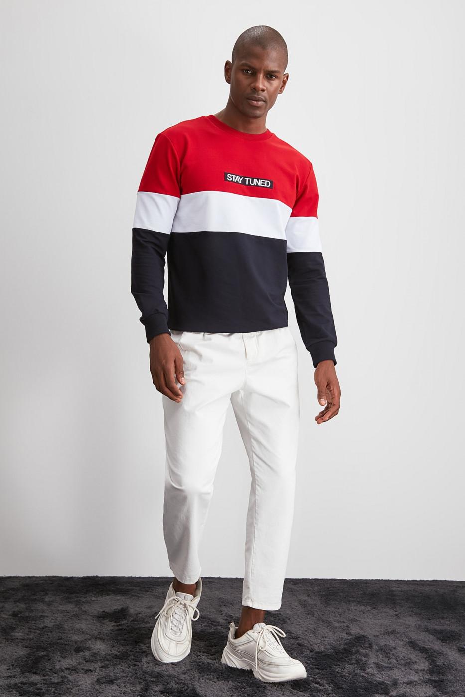 Trendyol Black Men Embroidered PanelEd Sweatshirt