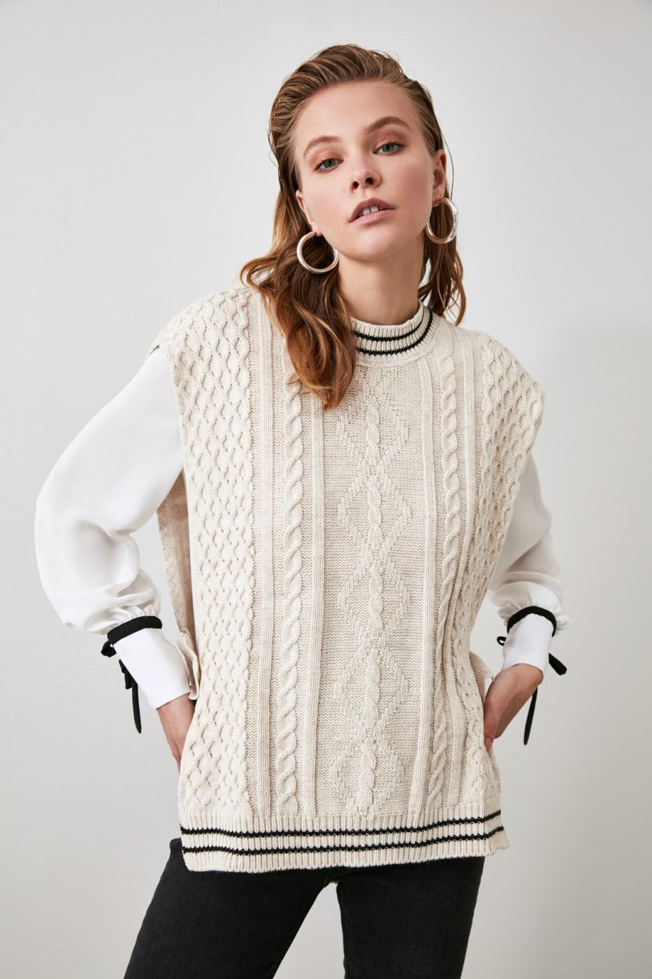 Trendyol Beige Knitting Detailed Knitwear Sweater Blouse