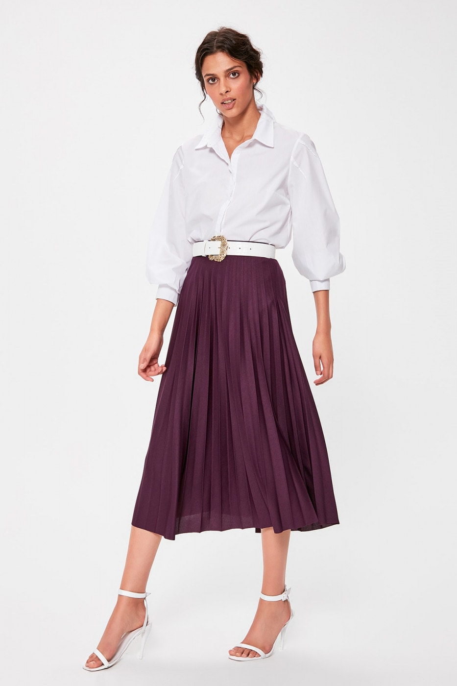 Trendyol Purple Pilise Knitted Skirt