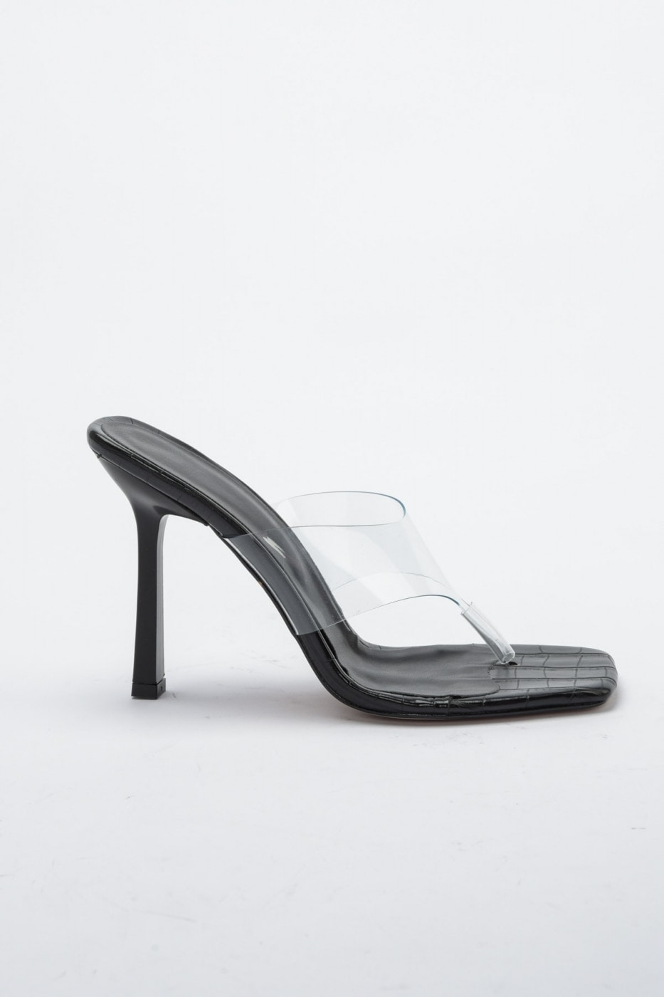 Trendyol Black Kroko Detailed Transparent Women's Classic Heels