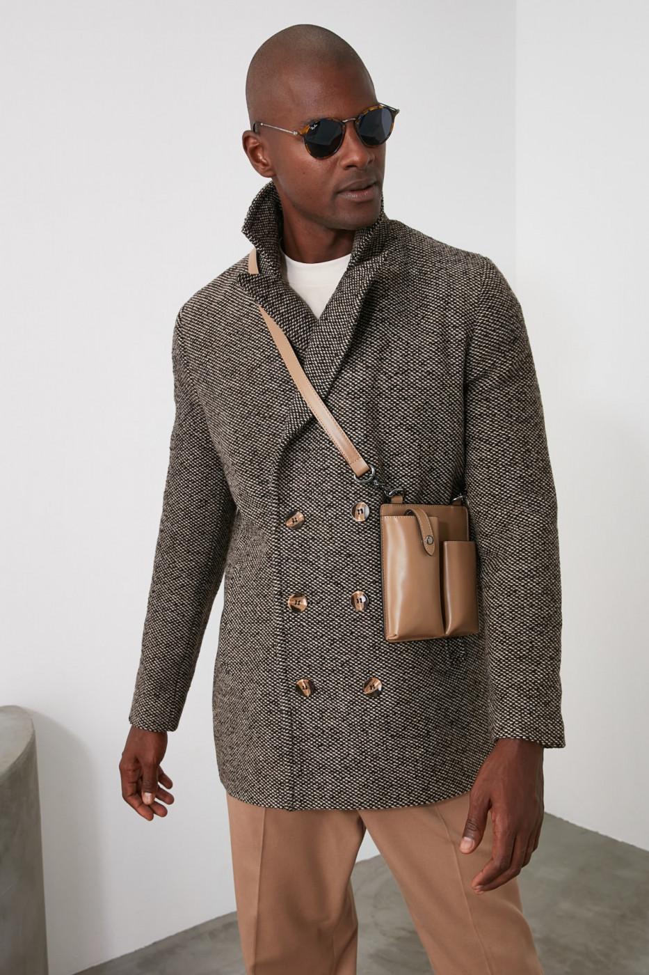 Trendyol Brown Male Cachet Men's Collar Regular Kaban