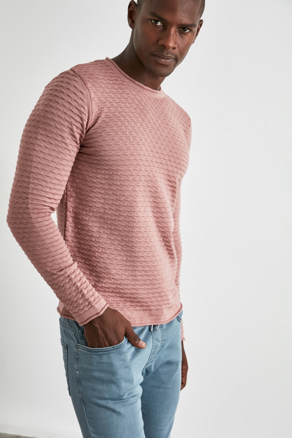 Trendyol Pink Male Textured Sweater