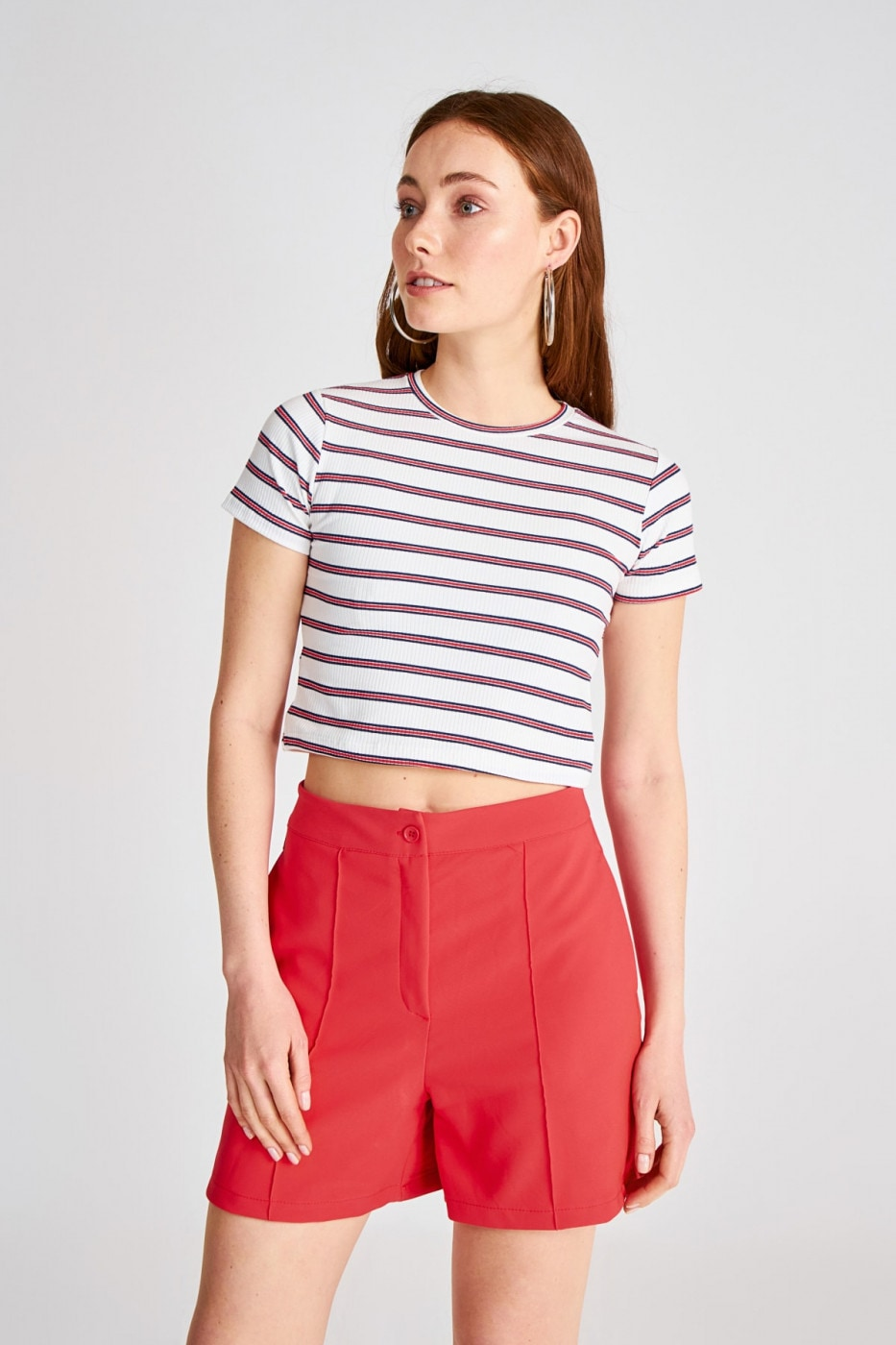 Trendyol White Striped Knitted Blouse