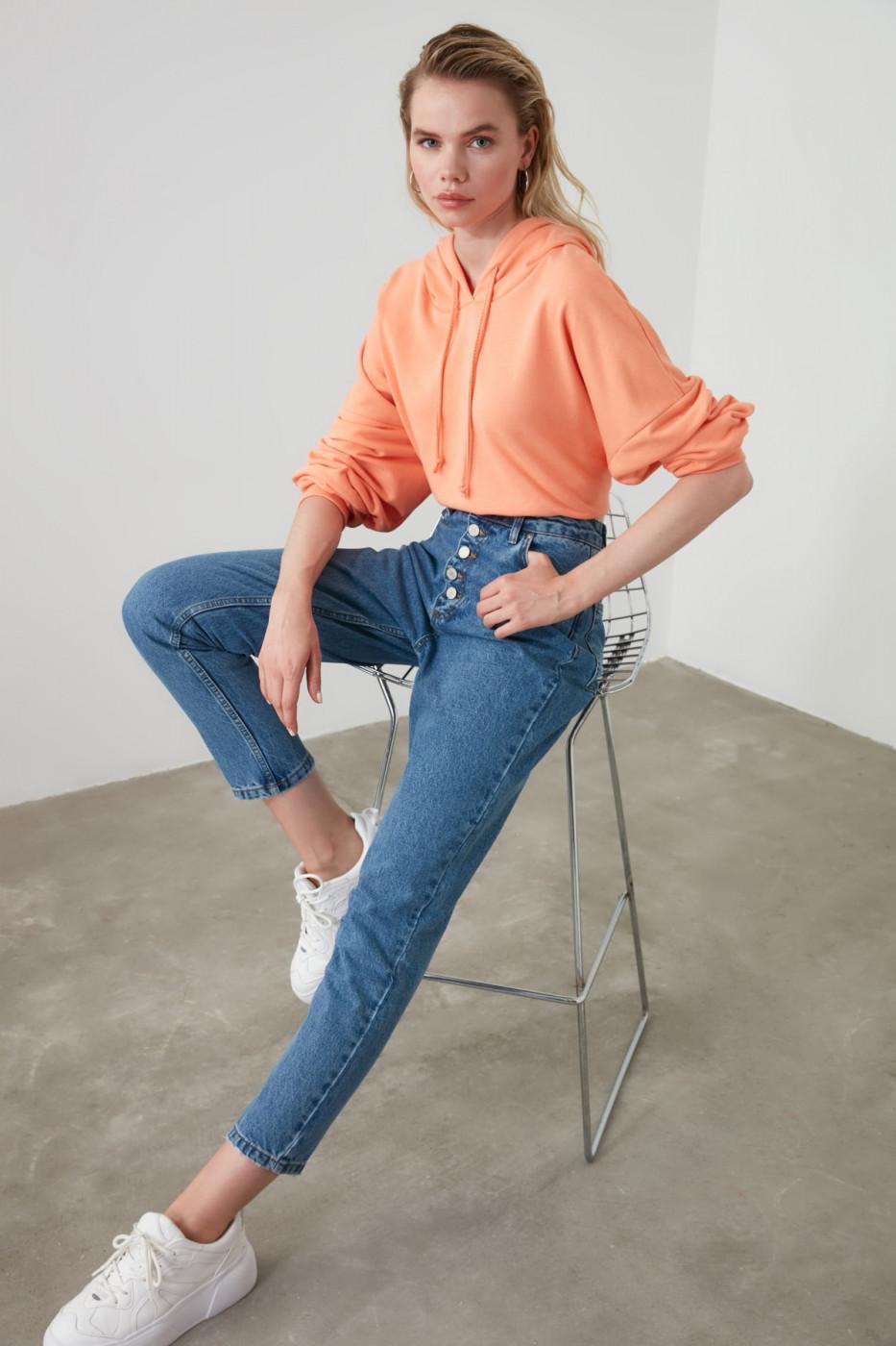 Trendyol Indigo Front ButtonEd High Waist Mom Jeans