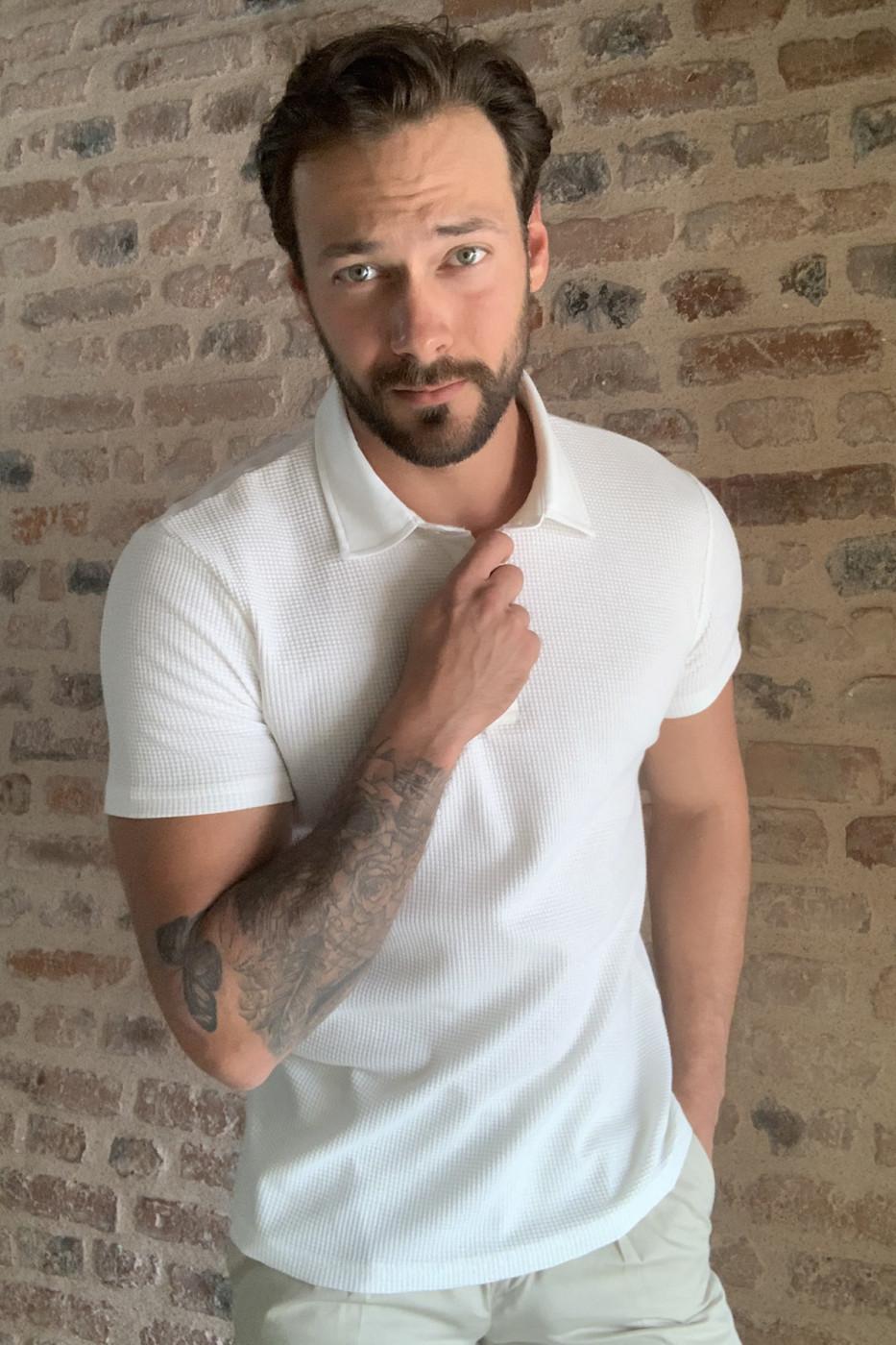 Trendyol Ekru Textured Polo Collar T-shirt