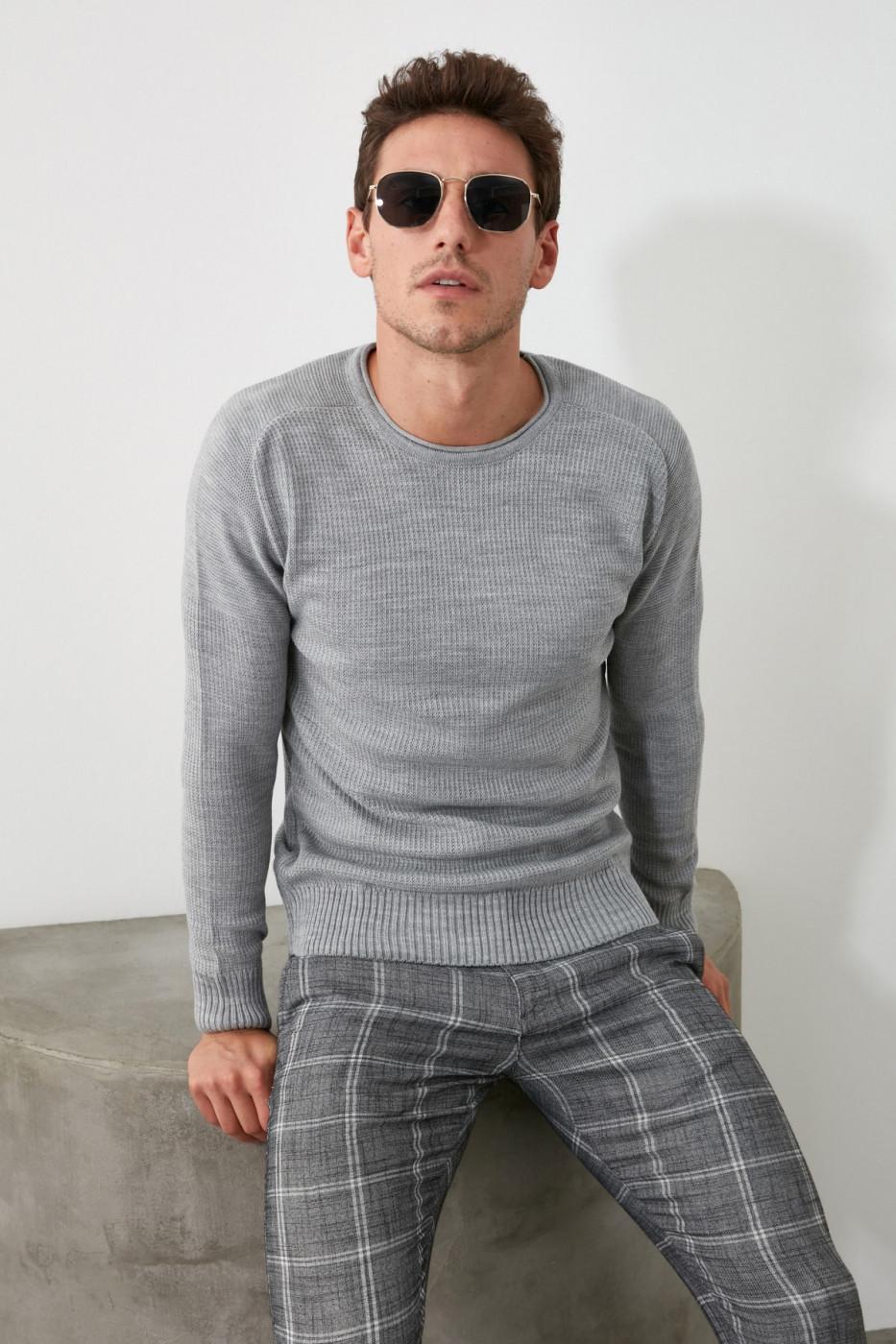 Trendyol Grey Men's Bicycle Collar Textured Knitwear Sweater