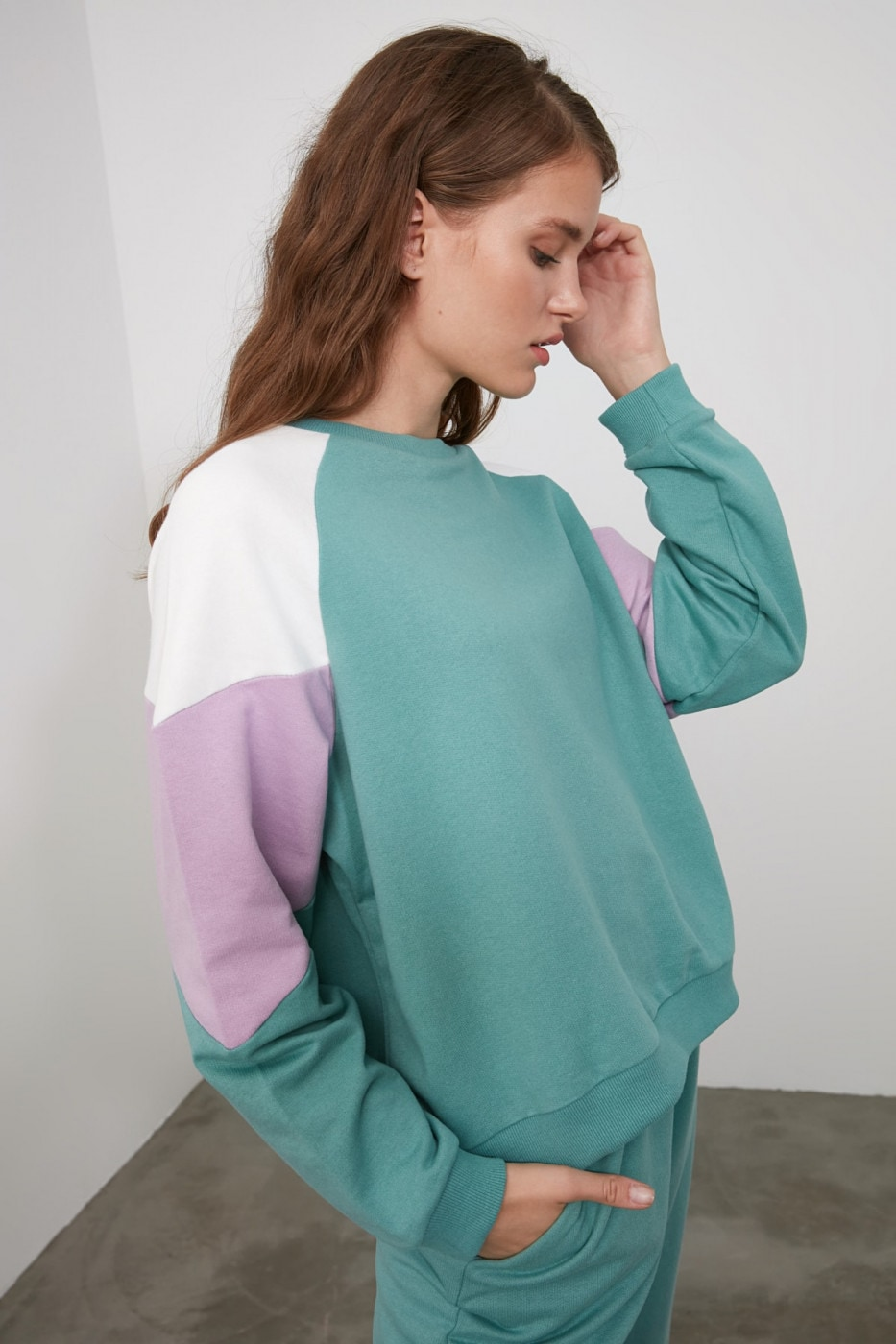 Trendyol Mint Color Block Basic Knitted Sweatshirt
