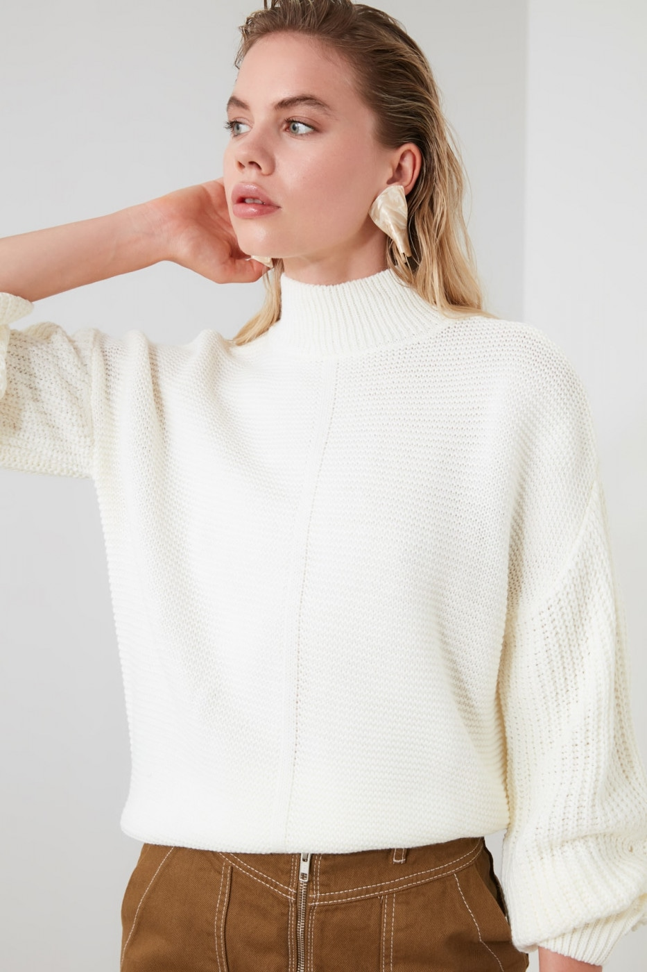Trendyol Ekru Braided Upright Collar Knitwear Sweater