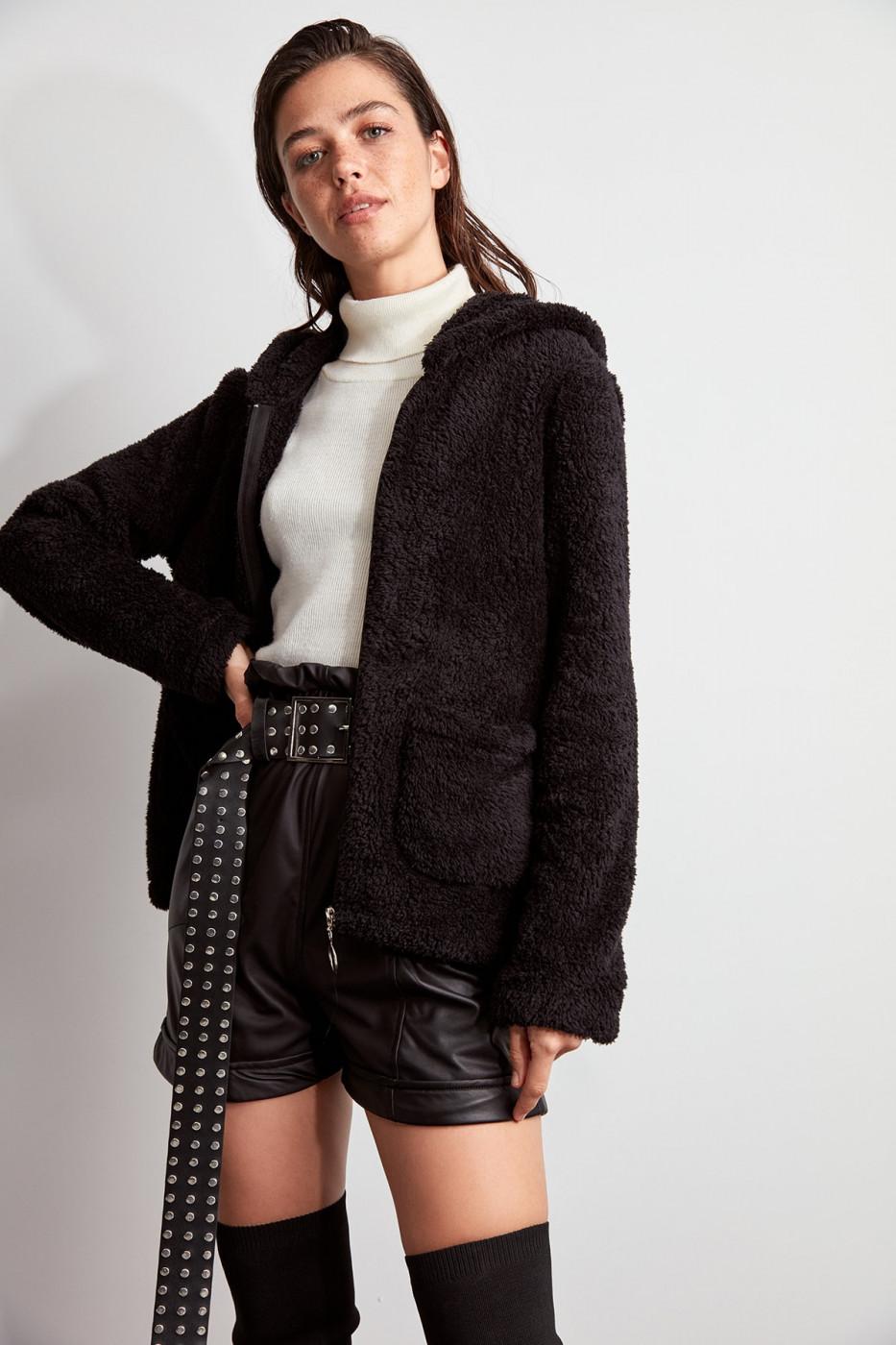 Trendyol Soft Plush Coat with Black Hood
