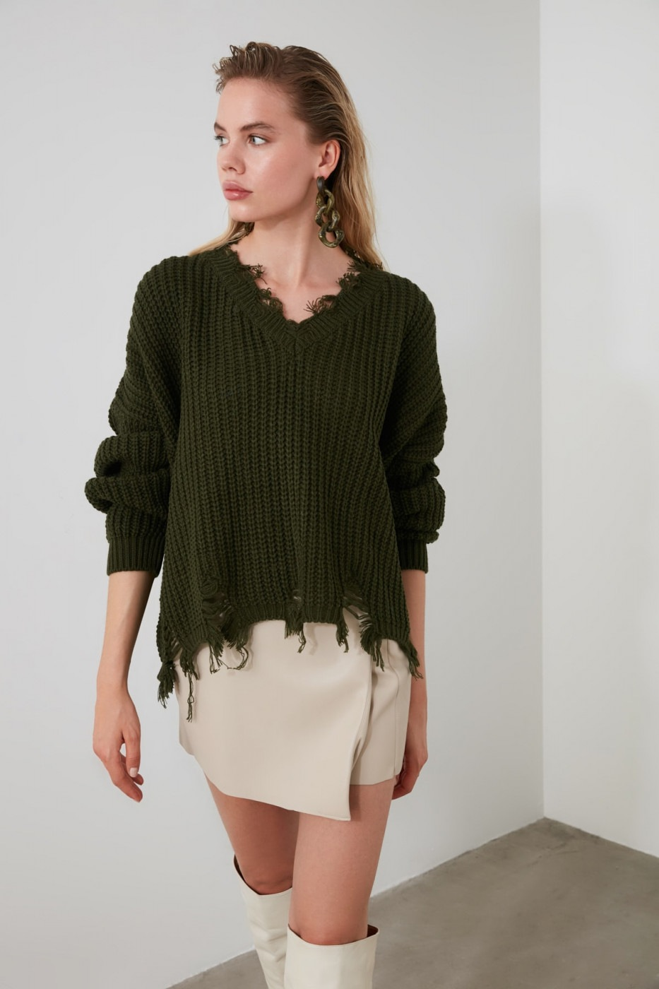 Trendyol Khaki Tasseled Knit Sweater