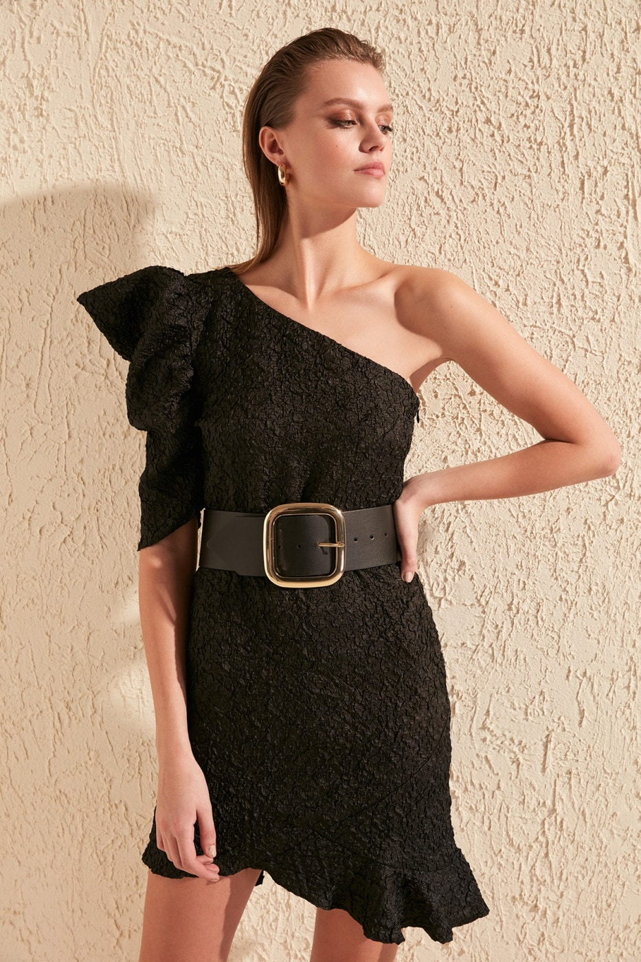 Trendyol Black Sleeve Detailed Dress