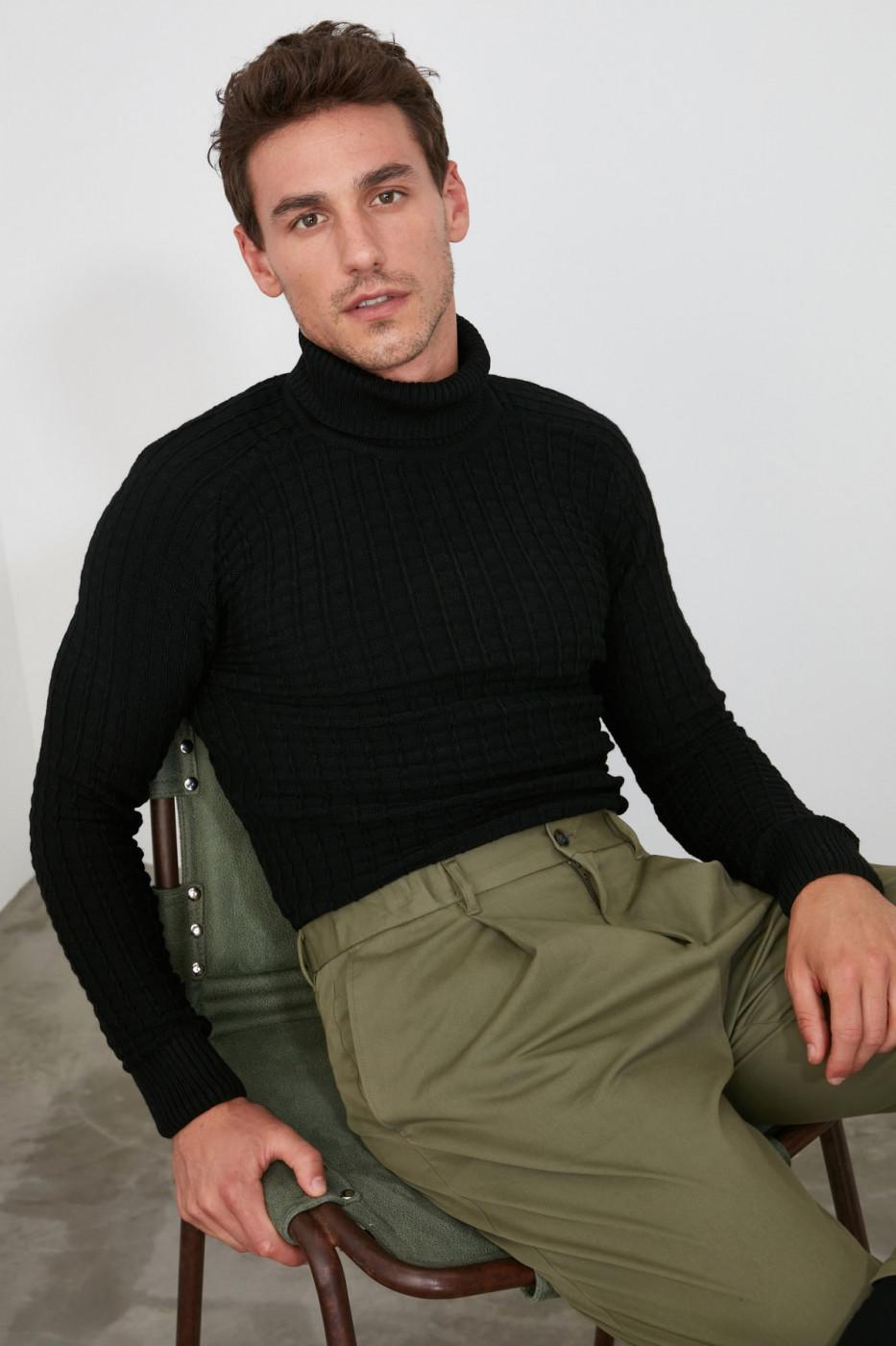 Trendyol Black Male Turtleneck Textured Knitwear Sweater