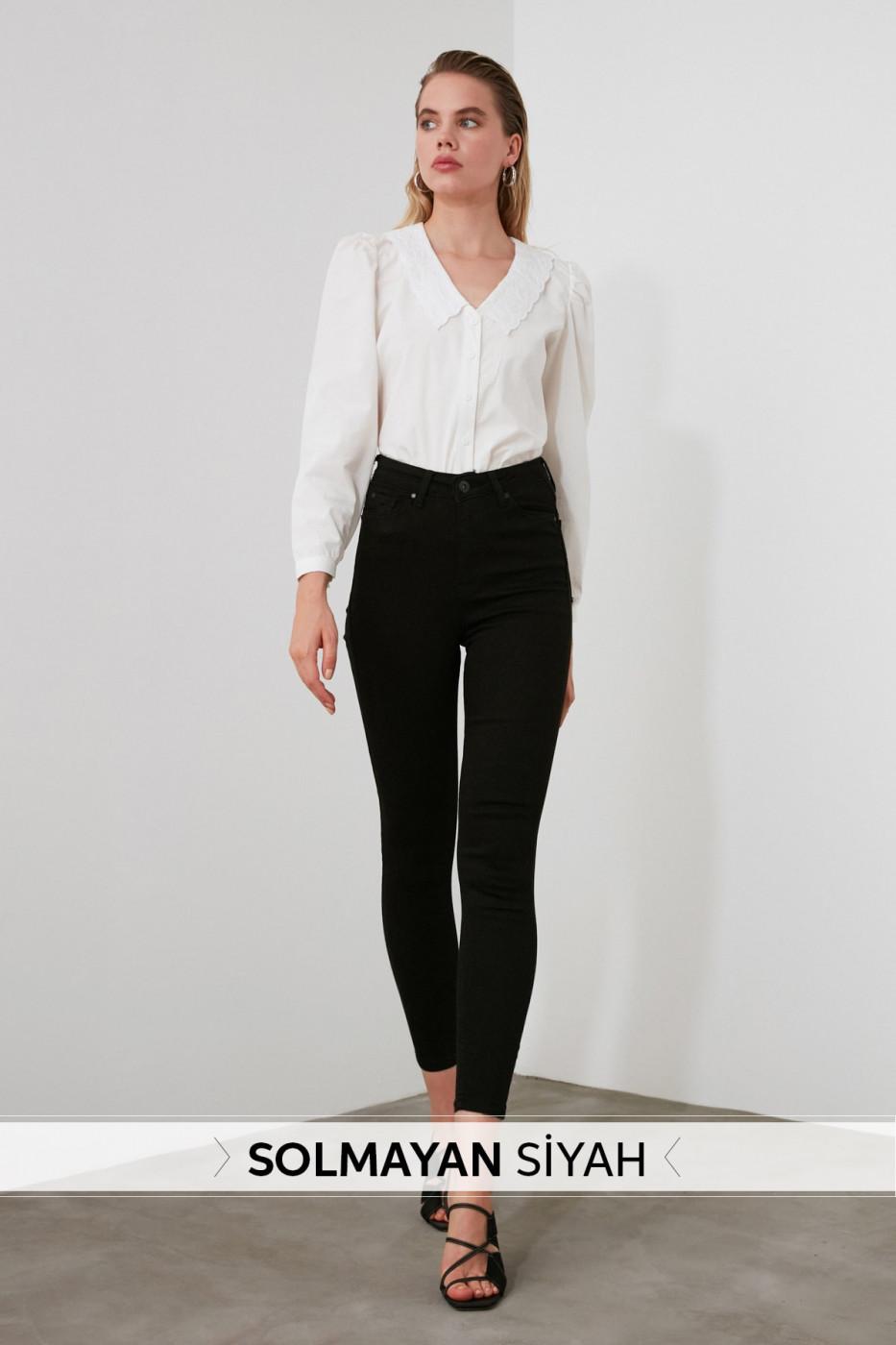 Trendyol Non-Fading Black High Waist Skinny Jeans
