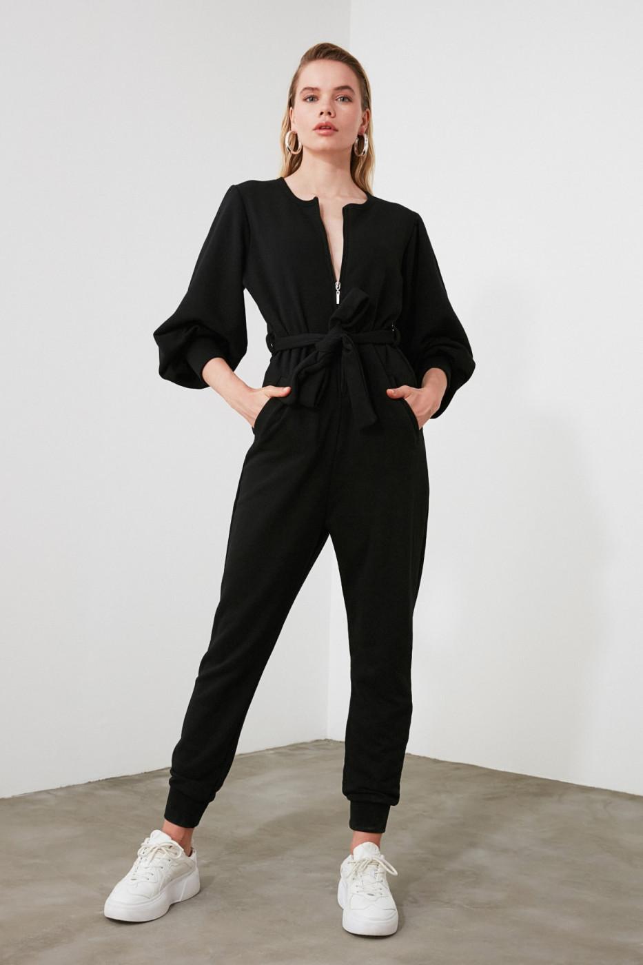 Trendyol Black Back Detailed Knitted Jumpsuit