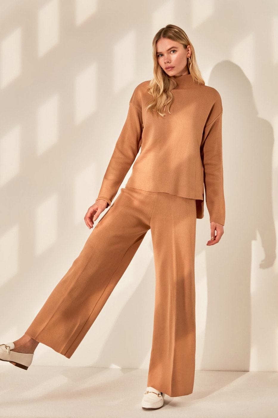 Trendyol Camel Sweater Pants Knitwear Bottom-Top Team