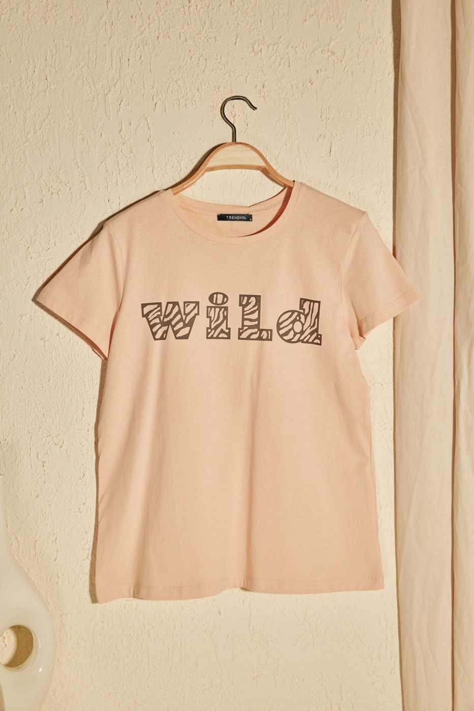 Trendyol Camel Printed Basic Knitted T-Shirt