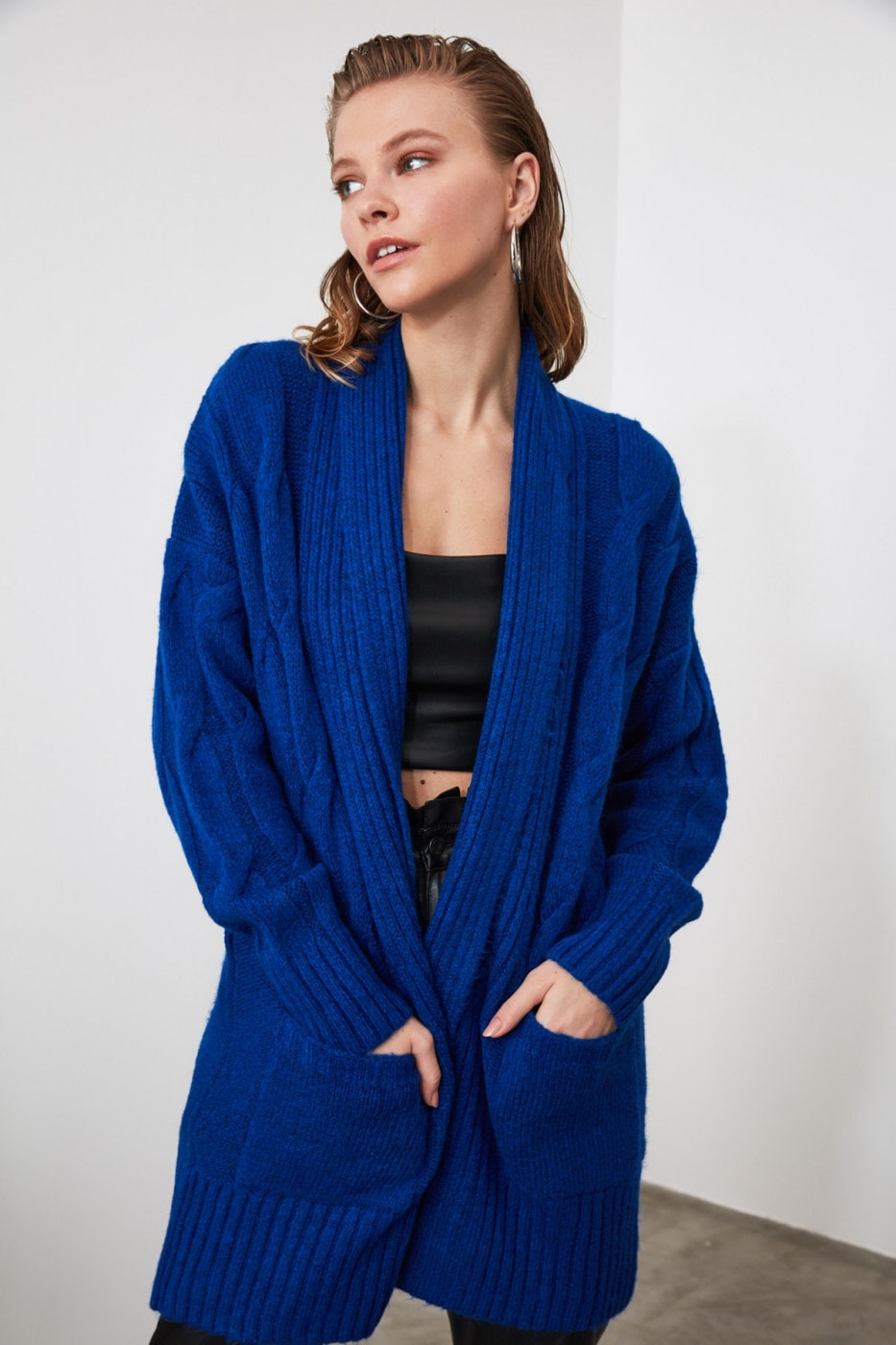 Trendyol Saks Braid Detailed Knitwear Cardigan