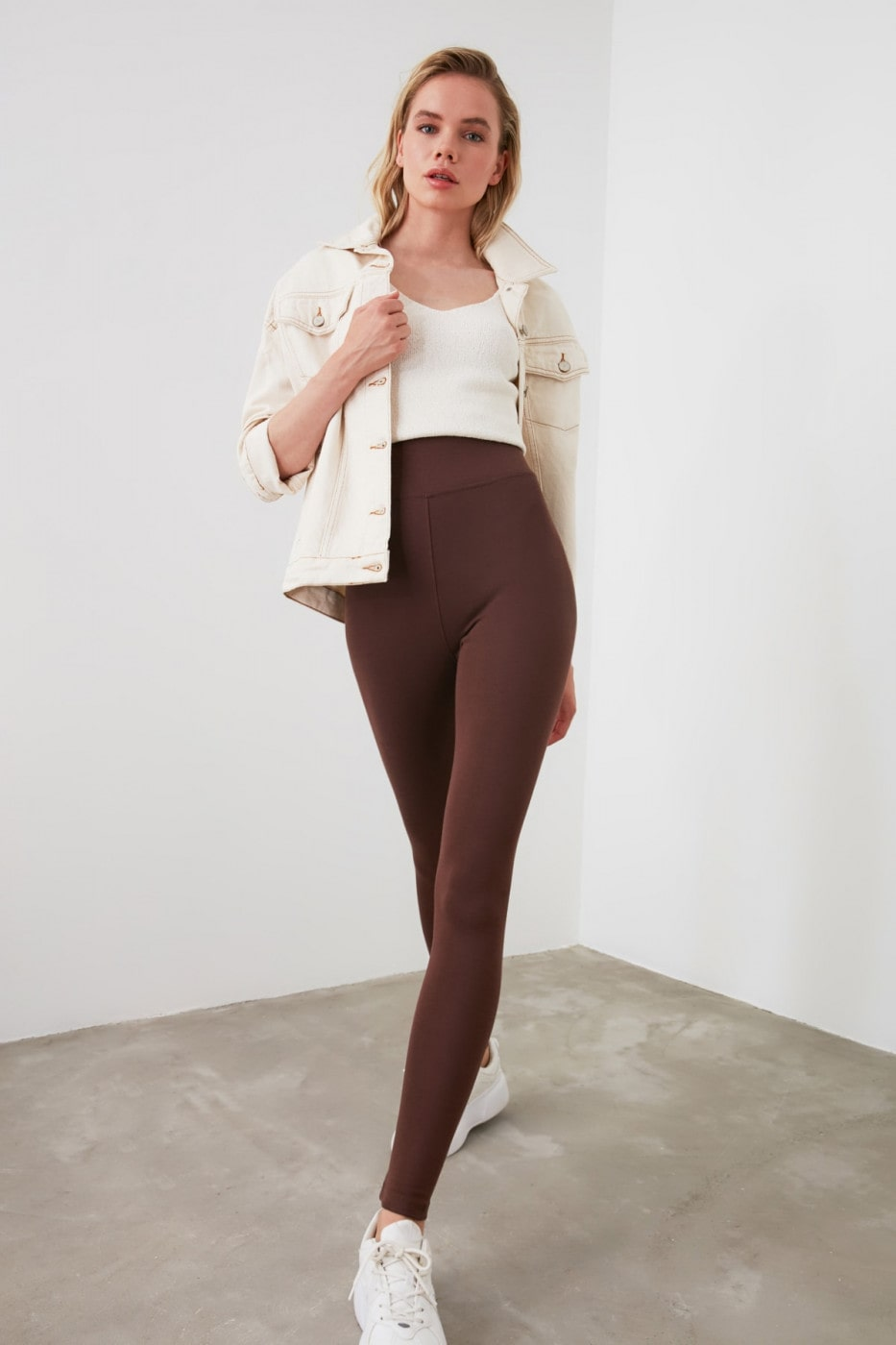 Trendyol Brown High Waist Basic Knitted Tights