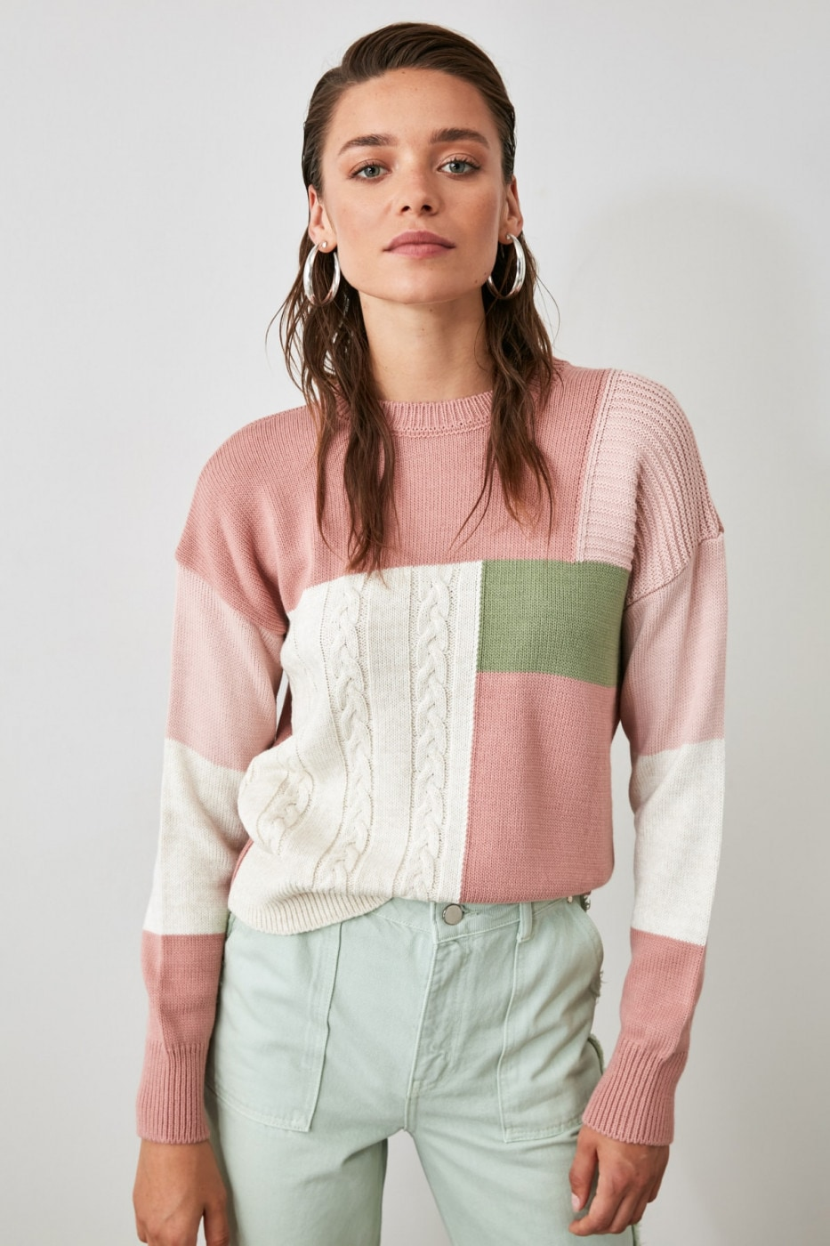 Trendyol Powder Color Block Knitted Detailed Knit Sweater
