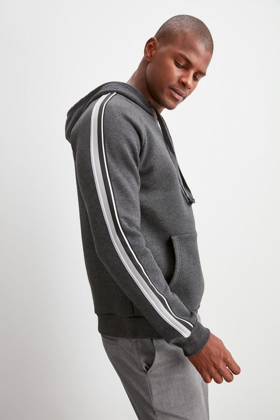 Trendyol Anthracite Hooded Ribbon Sweatshirt