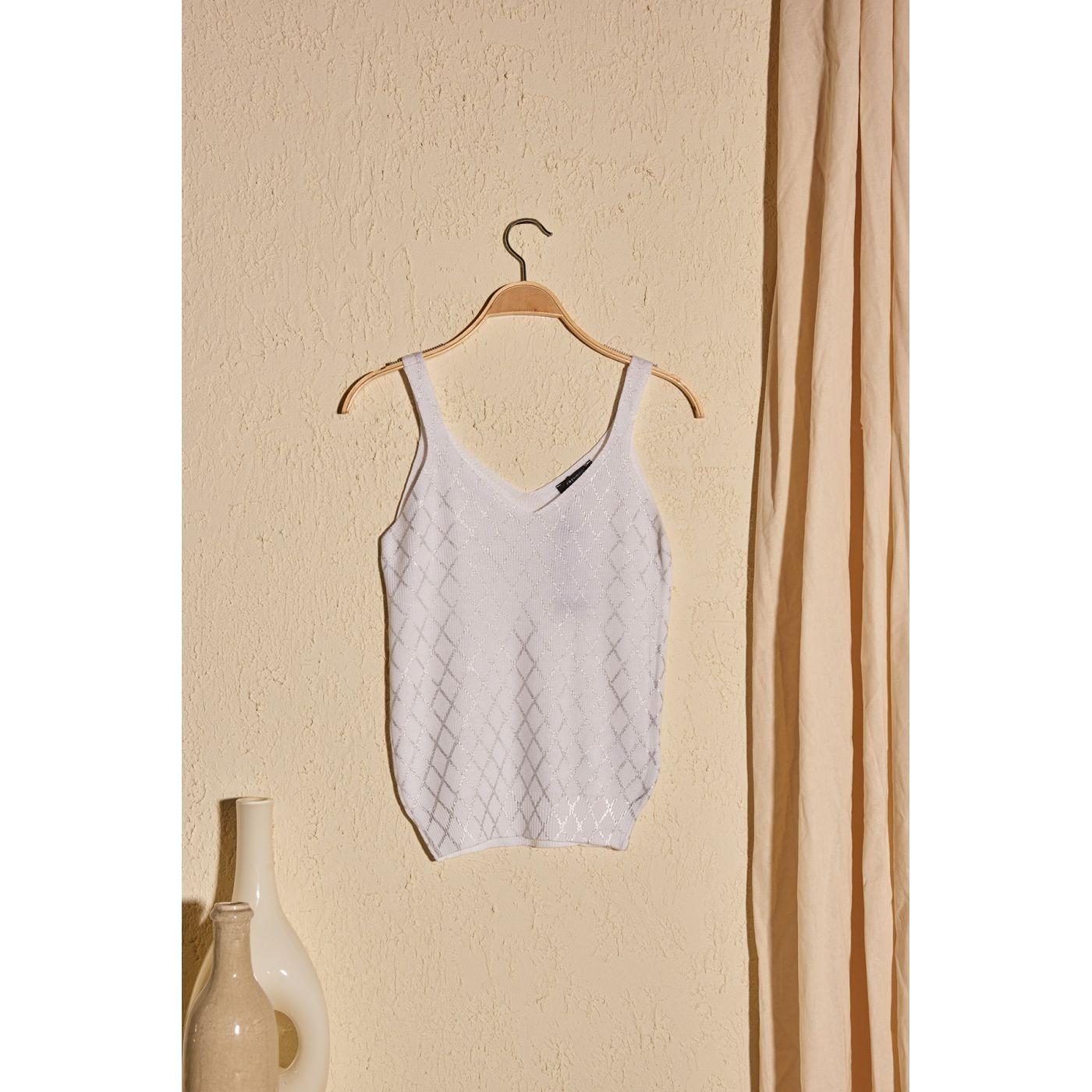 Trendyol Ekru Varak Printed Knitwear Blouse