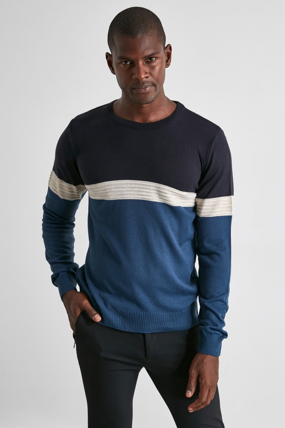Trendyol Navy Men's PanelKjack Sweater